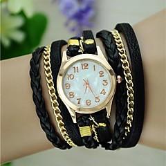 Mulheres Relógio de Moda Bracele Relógio corda trançada Quartzo PU Banda Vintage Boêmio Preta Branco Azul Vermelho Marrom Verde Rosa Roxa