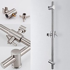 Brushed Stainless Steel Slide Bars with All Brass Handheld Shower Bracket Height and Angle Adjustable,F203-2