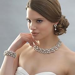 Dames Sieraden Set Druppel oorbellen Parelketting Parel Elegant Bruids Kostuum juwelen Parel Strass Verzilverd Legering Cirkelvorm