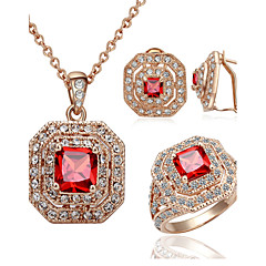 HKTC 18k Rose Gold Plated Red Square Crystal Vintage Ruby Necklace and Ring and Earrings Bridal Jewelry Sets