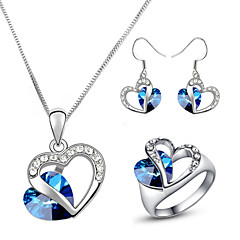 HKTC Classic 18k White Gold Plated Heart of Ocean Blue Sapphire Crystal Necklace and Earrings and Ring Set