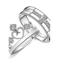 Naisten Parisormukset Kihlasormus Love Morsius Muoti Säädettävä pukukorut Sterling-hopea Tekojalokivi Heart Shape Cross Shape Korut