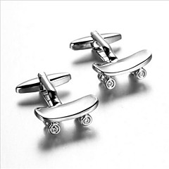 Men's Fashion Skateboard Style Silver Alloy French Shirt Cufflinks (1-Pair)