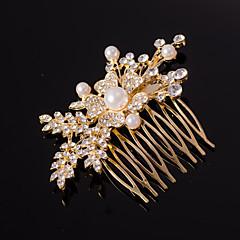 sølv / gull blad form krystall perle hår kammer for bryllupsfesten dame