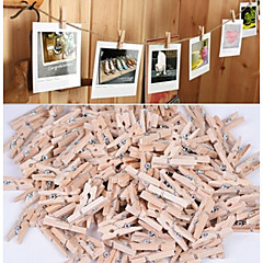 50PCS New 3x25MM Mini Natural Wooden Clothe Photo Paper Peg Clothespin Craft Clips for Wedding Decoration