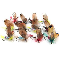 "12pcs יח ' פתיונות דיג פיתיון רך זבובים Jerkbaits Soft פנטום מרובה צבעים g/אונקיה,20 mm/1"" אינץ ',עור מתכת פחמיתדיג בים דיג בחכה הטלת"
