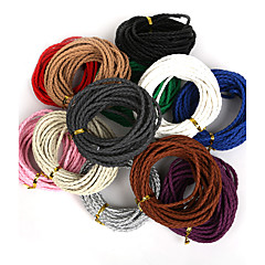 Beadia 3mm Round Braided PU Leather Cord Rope String For DIY Jewelry Necklace Bracelet Craft Making(5Mts)