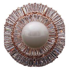 Feminino Broches Jóias de Luxo bijuterias Pérola Zircão Zircônia Cubica Formato Circular Forma Geométrica Jóias Para Diário