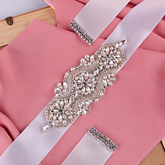 Satin Wedding / Party/ Evening Sash-Beading / Rhinestone / Imitation Pearl Women's 98 ½in(250cm) Beading / Rhinestone / Imitation Pearl