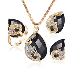 Women's Diamond Sapphire Emerald Crystal Costume Jewelry Crystal Rhinestone Gold Plated Alloy 1 Necklace 1 Pair of Earrings Rings 1