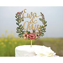Kakepynt Personalisert Klassisk Par Akryl Hard Plastikk Kort Papir Utdrikkingslag Bryllup Jubileum GulStrand Tema Hage Tema Blomster Tema