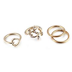 Naisten Korusetti Nauhasormukset Kokosormen sormus Love Eurooppalainen minimalistisesta pukukorut Cubic Zirkonia Tekojalokivi Metalliseos