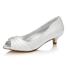 Feminino Sapatos De Casamento Seda Primavera Outono Salto Baixo Ivory 2,5 a 4,5 cm