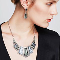 Komplet nakita Viseće naušnice Bib ogrlice Nakit sa stilom Vintage Dragi kamen Kristal Kubični Zirconia JewelryCrn Crvena Crvena Zelen