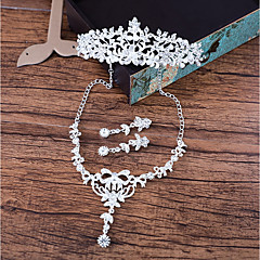 Women's Necklace Front Back Earrings Rhinestone Elegant Rhinestone Alloy Flower For Wedding Wedding Gifts