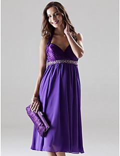 a-line princezna halter milá koleno délka šifón charmeuse družička šaty podle lan ting bride®