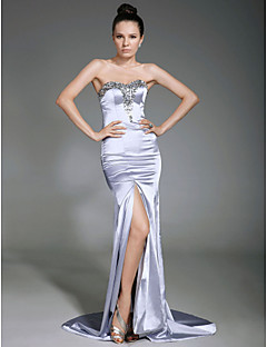 Sheath / Column Strapless Sweetheart Sweep / Brush Train Stretch Satin Formal Evening Dress with Beading Split Front by TS Couture®