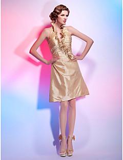 Aライン プリンセス ホルター Vネック 膝丈 タフタ カクテルパーティー 祝日 ドレス とともに ラッフル フリル サイドドレープ 〜によって TS Couture®