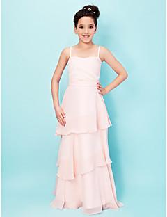 A-Şekilli Prenses Spagetti Askılı Kalp Yaka Yere Kadar Şifon Streç Saten Çocuk Nedime Elbisesi ile Pileler Fırfırlı tarafındanLAN TING