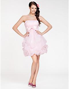 A-Linie Plesové šaty Bez ramínek Krátký / Mini Organza Šaty pro družičky s Mašle Nabíraná sukně Křížení podle LAN TING BRIDE®