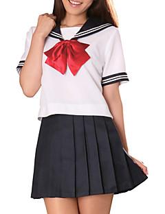 セクシークールインクブルーと白のポリエステル制服(2個入)