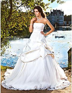 Plesové šaty Bez ramínek Extra dlouhá vlečka Satén Svatební šaty s Korálky Aplikace Mašle Skládané podle LAN TING BRIDE®