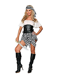 Cosplay Kostumer Festkostume Pirat Festival/Højtider Halloween Kostumer Sort/Hvid Patchwork Kjole Hovedstykke T-Ryg Halloween Karneval