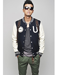 Menn PU Leather Sleeve Baseball Jacket