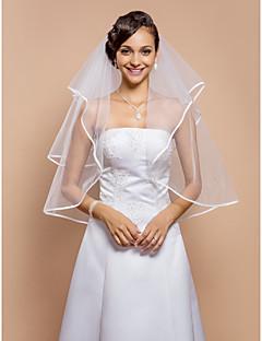 Véus de Noiva Duas Camadas Véu Cotovelo Borda com Tira 31,5 cm (80cm) Tule BrancoLinha-A, Vestido de Baile, Princesa, Bainha/Coluna,