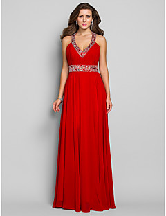 Schouder / kolom v-hals vloerlengte chiffon prom jurkje met kristal door ts couture®
