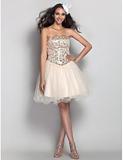 tscouture®by aラインストラップレスショート/ミニチュールウエディングドレス