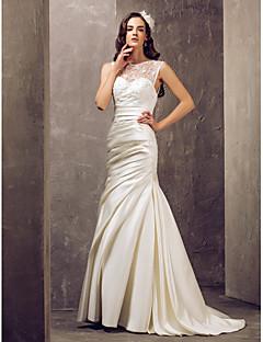 Sereia / trompete ilusão decote varredura / escova vestido de noiva de trem com apliques por lan ting bride®
