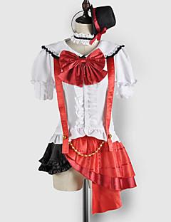 Inspireret af Kærlighed Levende Maki Nishikino video Spil Cosplay Kostumer Cosplay Suits / Skoleuniformer Patchwork Hvid / Rød Kort Ærme