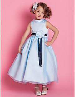 aラインのプリンセスアンクルの長さの花ガールのドレス - サテンのノースリーブハイネックby lan tingbride®