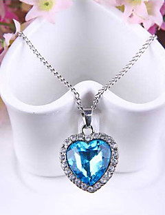 Γυναικεία Κρεμαστά Κολιέ Ζαφειρένιο Heart Shape Αυστριακό κρύσταλλο Κράμα Love Μοντέρνα κοστούμι κοστουμιών Κοσμήματα Για Γάμου Πάρτι