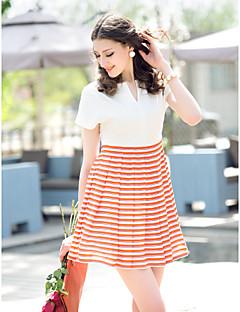 TS Stripes Stitching Skater Dress
