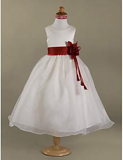 ラインの床の長さフラワーガールのドレス - サテンのノースリーブスクープネックlan tingbride®