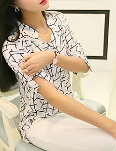 Damen Druck Einfach Lässig/Alltäglich Hemd,V-Ausschnitt Sommer ¾-Arm Weiß Polyester Dünn