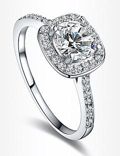 Kadın's İfadeli Yüzükler Nişan yüzüğü Aşk Avrupa Gelin kostüm takısı Zirkon Kübik Zirconia Gümüş Kaplama Altın Kaplama Simüle Elmas