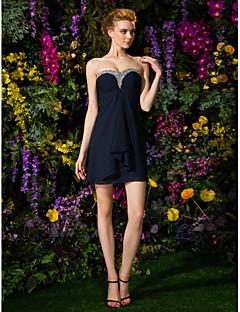 מעטפת \ עמוד לב (סוויטהארט) קצר \ מיני שיפון שמלה לשושבינה  עם חרוזים סלסולים על ידי LAN TING BRIDE®