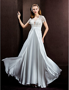 A-Line Jewel Neck Floor Length Lace Satin Chiffon Wedding Dress with Lace Sash / Ribbon by LAN TING BRIDE®