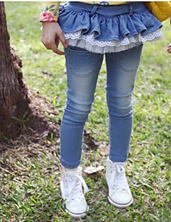 Mädchen Jeans einfarbig Baumwollmischung Frühling / Herbst Blau