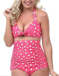 Femme Licou Bikinis Taille Haute Pois décolleté Plongeant Rétro,Polyester Nylon Pois