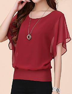 Mulheres Camiseta Tamanhos Grandes Verão,Sólido Azul / Vermelho / Branco / Preto / Roxo Poliéster Decote Redondo Manga Curta Fina