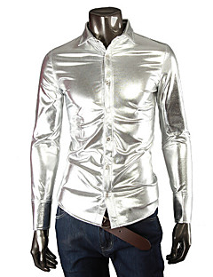 Men's Black/Gold/Silver Shirt,Cotton Blend/Elastic/Satin