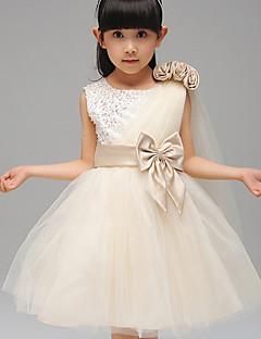 Vestido de baile de uma linha com vestido de flor com joelho - gola de algodão sem mangas de algodão com fita por minuto