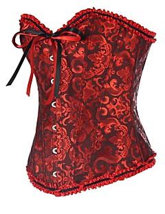 Corset Vêtement de nuit Femme Jacquard Rouge Aux femmes
