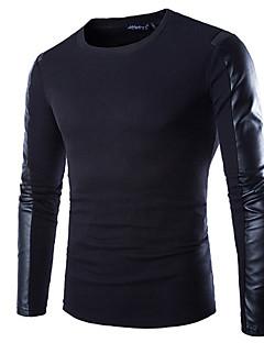 Masculino Camiseta Misto de Algodão Cor Solida Manga Comprida Casual / Escritório / Formal / Esporte-Preto
