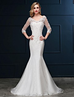 Mermaid / Trumpet V-neck Sweep / Brush Train Lace Tulle Wedding Dress with Beading Appliques by JUEXIU Bridal