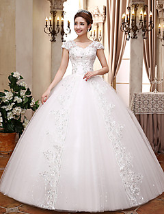 Ball Gown V-neck Floor Length Satin Tulle Wedding Dress with Crystal by MHSG
